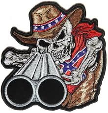 Country Flags Patches Rebel Cowboy With Shotgun Patch