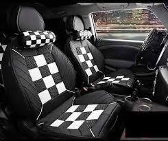 siege auto mini cooper car seat covers luxury checkerboard grid 3d slik for bmw mini