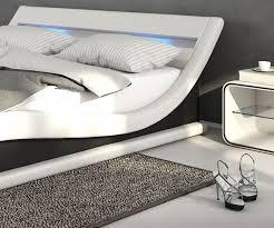 Schlafzimmer Bett Mit Led Polsterbett Belana 140x200 Cm Weiss Schwarz Mit Led Möbel Betten