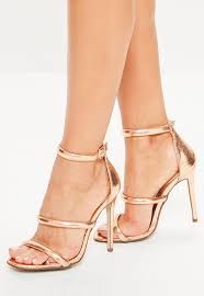 rose gold rounded three strap barely there heels missguided