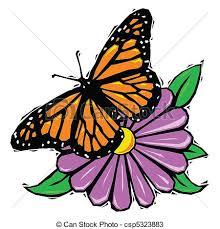 woodcut butterfly on flower monarch butterfly resting on a