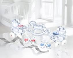 swarovski baby carriage crystal and blue