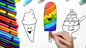 draw and color rainbow popsicle icecream coloring page and learn