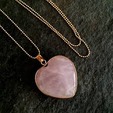 necklace rose quartz images Long 18k gold fill rose quartz heart pendant necklace january jpg