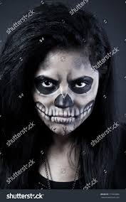 halloween skull background young woman day dead mask skull stock photo 115424686 shutterstock
