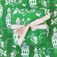 chinoiserie wrapping paper wrapping paper green chinoiserie pagoda