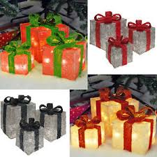 light up present gift boxes set of 3 led indoor