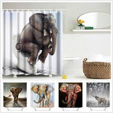 2018 wholesale 3d printing shower curtains 150x180cm elephant