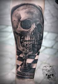 chess and a skull great realism master tattoo malan tattoo