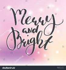 handdrawn lettering phrase merry bright unique stock vector