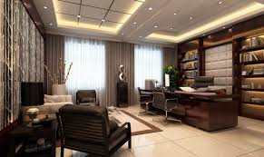Contemporary Office Interior Design by Modern Office Curtains With Brown Color And Modern Design Also