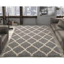 5 X7 Area Rug Ottomanson Ultimate Shaggy Contemporary Moroccan Trellis Design
