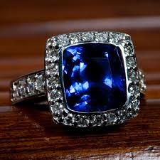 all diamond ring cushion blue sapphire and diamond ring worthington jewelers