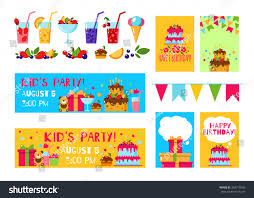 Bday Invitation Cards For Kids Happy Birthday Invitation Card Flat Vector Stock Vector 394770166
