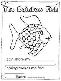 free rainbow fish coloring writing activity perfect