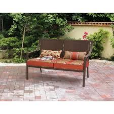 Patio Furniture From Walmart by Mainstays Alexandra Square Patio Loveseat Bench Orange Stripe