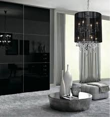 Crystal And Black Chandelier Plush Black Shade Double Crystal Chandelier