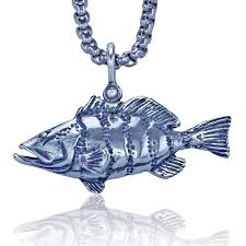 silver fish necklace images Fish sterling silver necklace on stainless steel heavy link chain jpg
