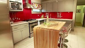 red chair wooden kitchen island french door refrigerator white