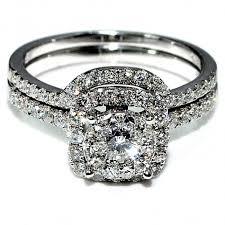 2 engagement rings ct wedding set 14k white gold 2 engagement ring band