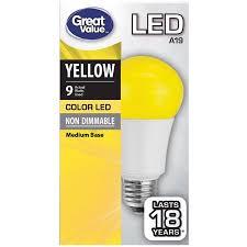yellow led light bulbs great value led light bulb 9w yellow a19 walmart com