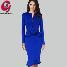 women peplum ruffled office work dress long sleeve casual bodycon