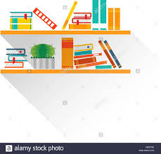 bookshelves with colorful books in flat design style i love books
