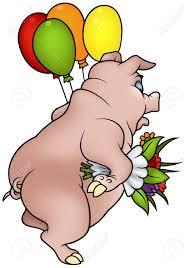 pig with flowers happy birthday cartoon illustration royalty
