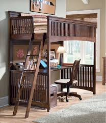 rich wood loft bunk bed with workstation and spacious desk