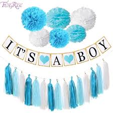 baby shower kits fengrise baby shower decoration kits blue pink pom poms its a boy