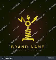 tesla coil tesla coil golden metallic logo stock vector 703099324 shutterstock