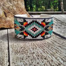 beaded cuff bracelet pattern images White native american inspired beaded cuff bracelet my gypsy store jpg