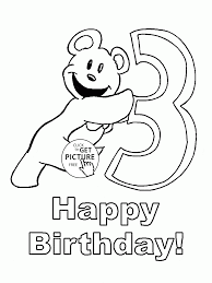 happy 3rd birthday coloring page for kids holiday coloring pages