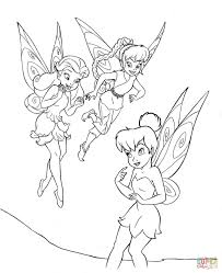 tinkerbell black and white tinkerbell with friends coloring page