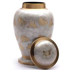 urn for human ashes butterflies pearl white memorial urn for human ashes large