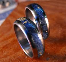 black opal mens ring titanium wedding band set blue box elder wood inlay rings