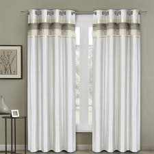Gray And White Blackout Curtains Milan Lined Blackout Curtains With Grommets Single Panel