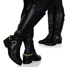 buckle motorcycle boots womens mid calf leather look fashion riding boots flats buckle