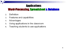 Applications Of Spreadsheet Applications Word Processing Spreadsheet Database