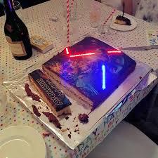 wars birthday cake wars the awakens cake with illuminated lightsabers
