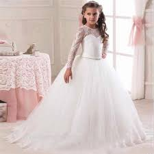 kids wedding dresses children frocks birthday lace sleeve a line flower