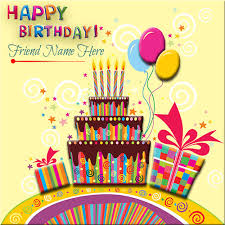 generate happy birthday card with gifts and cake for friend