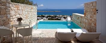 hotel avec piscine dans la chambre chambres de luxe avec vue sur la mer de paros golden