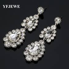 drop earrings wedding yfjewe white drop earrings for women wintage flower silver