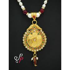beautiful necklace images And beautiful pearl necklace in temple jewellery pendant jpg