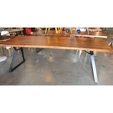 Flat Bar Table Legs Acacia Natural Wood Straight Cut Table With Angled Flat Bar Legs