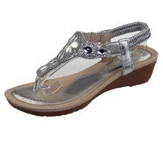 wedding shoes toe womens wedge heel sandals diamante toe post summer