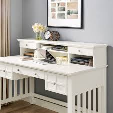 White Writing Desk With Hutch by Adler Mission Style Hutch Only For Computer Desk In White By Crosley