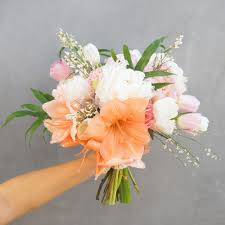 Peony Bouquet Pink Peach Amaryllis And Peony Bouquet Flower Muse Blog