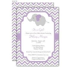 chevron elephant purple baby shower invitation grey chevron